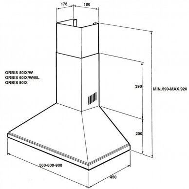 ALLENZI Orbis 60 IX LED Gartraukis kabinamas ant sienos 60 cm pločio 2