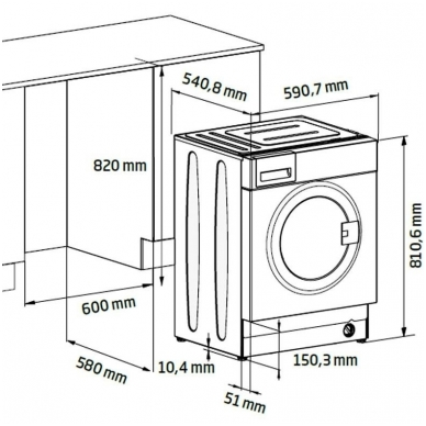 BEKO WITC7612B0W Skalbimo mašina įmontuojama 2