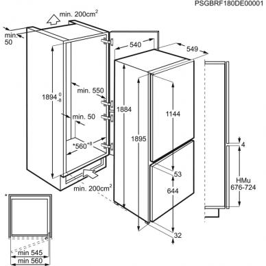 Electrolux ENS6TE19S Šaldytuvas įmontuojamas 2