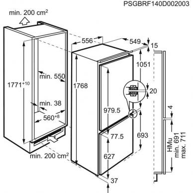 Electrolux ENT7TE18R Šaldytuvas įmontuojamas 2
