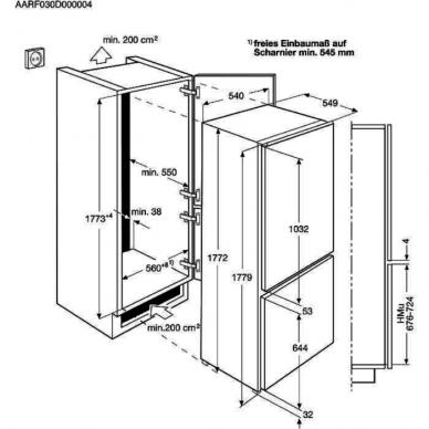 Electrolux ENT8TE18S Šaldytuvas įmontuojamas 2