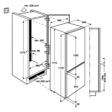 Electrolux KNT1LF18S1 Šaldytuvas įmontuojamas 2
