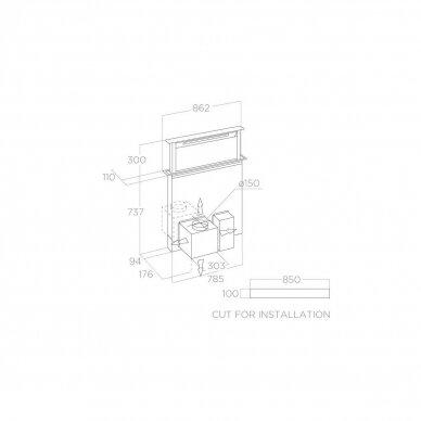 ELICA GETUP IX/A/90 Gartraukis įmontuojamas į stalviršį 2