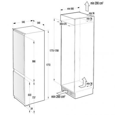 GORENJE NRKI4182A1 Šaldytuvas įmontuojamas 2