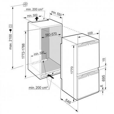 LIEBHERR ICe 5103 Šaldytuvas įmontuojamas 2