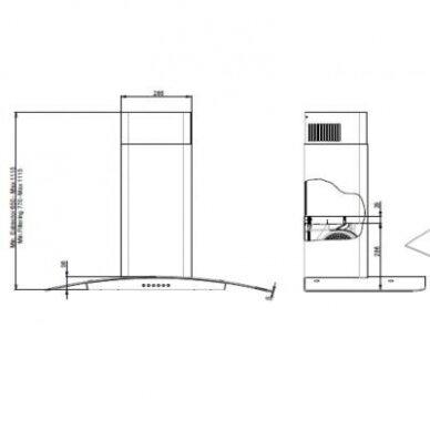 Tecnowind FLEX 60 A CLASS IX Gartraukis kabinamas ant sienos 60 cm pločio 2