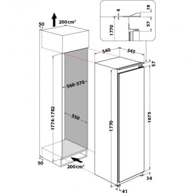 Whirlpool ARG 18081 A++ Šaldytuvas įmontuojamas 2