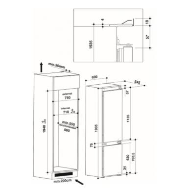 Whirlpool SP40 802 EU 2 Šaldytuvas įmontuojamas 2